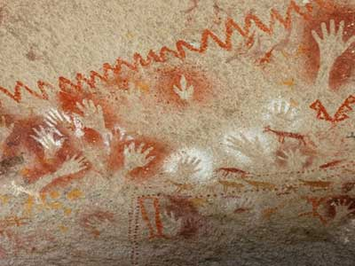 pre-historic hand paintings