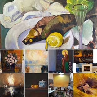 Emily McCormack paintings with yellow