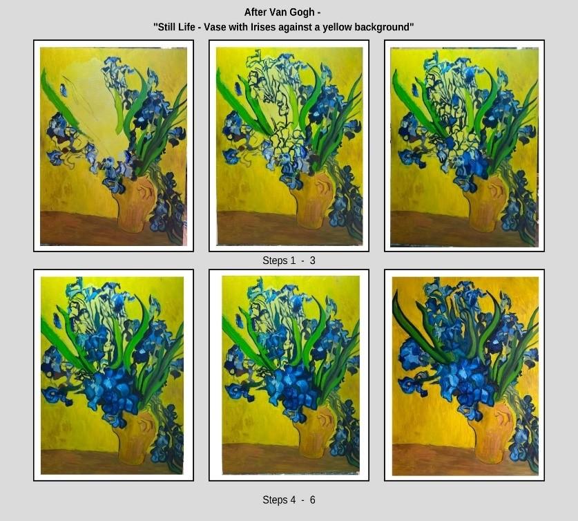 How to paint Van Gogh's vase of irises